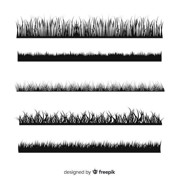 Colección de siluetas negros de cenefas de hierba vector gratuito