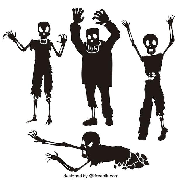 Colección de siluetas de zombies vector gratuito