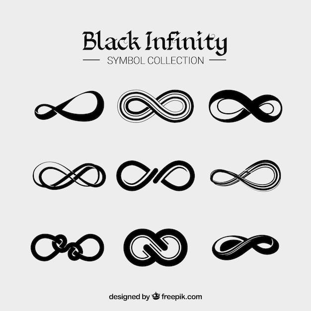 Colección de simbolo de infinito en color negro vector gratuito