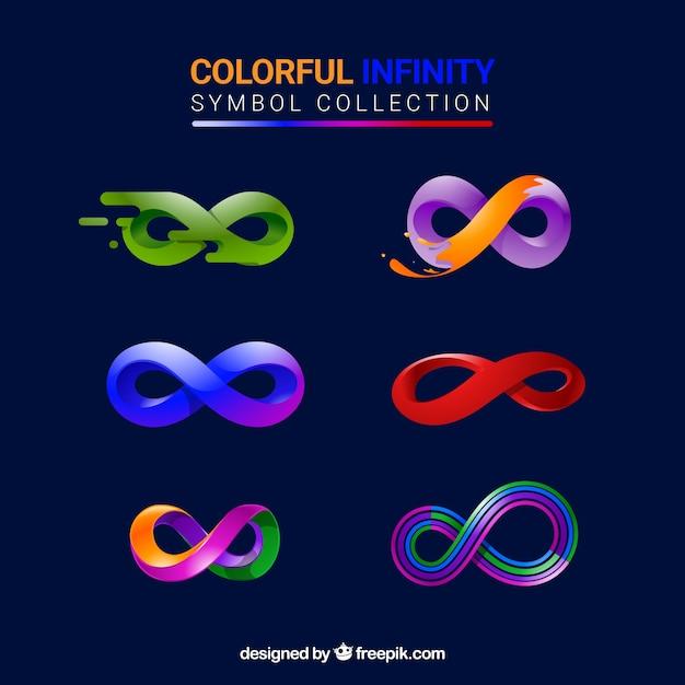 Colección de simbolo de infinito con colores vector gratuito
