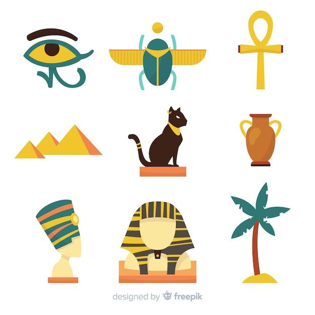 Colección De Símbolos Y Dioses Egipcios Con Diseño Plano Descargar