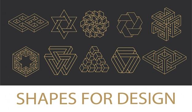 Colección de símbolos de geometría sagrada. conjunto de elementos hipster, abstracto, alquimia, espiritual, místico. Vector Premium