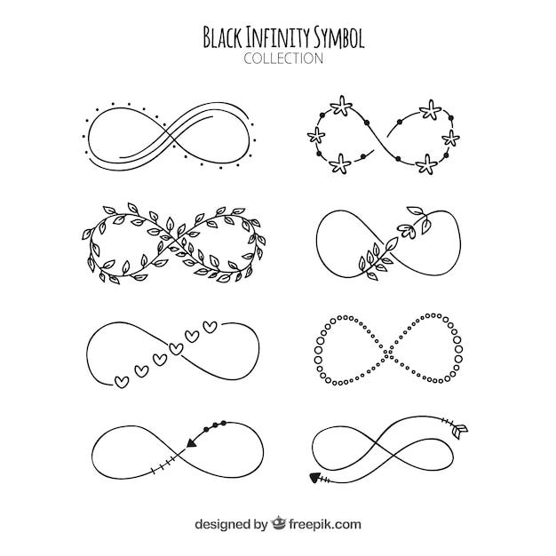 Colección de símbolos del infinito en color negro Vector Premium