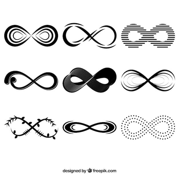 Colección de símbolos de infinito en color negro vector gratuito
