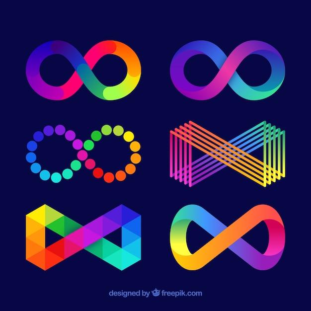 Colección de símbolos de infinito coloridos vector gratuito