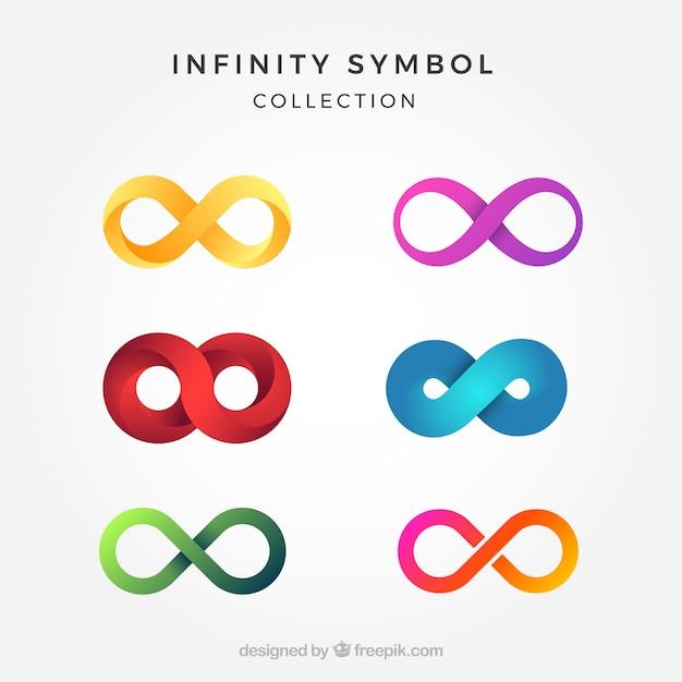 Colección de símbolos del infinito coloridos vector gratuito