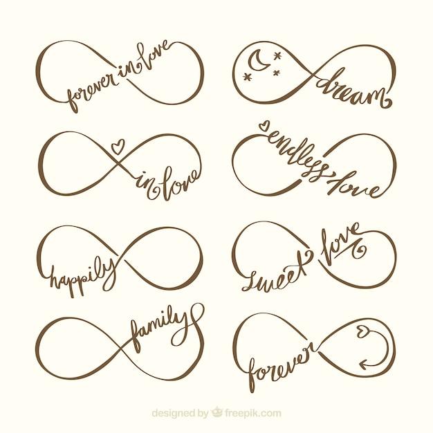 Colección de símbolos de infinito con palabra vector gratuito