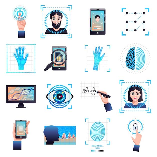 Colección de símbolos de tecnologías de identificación con reconocimiento facial biométrico de iris característico vector gratuito