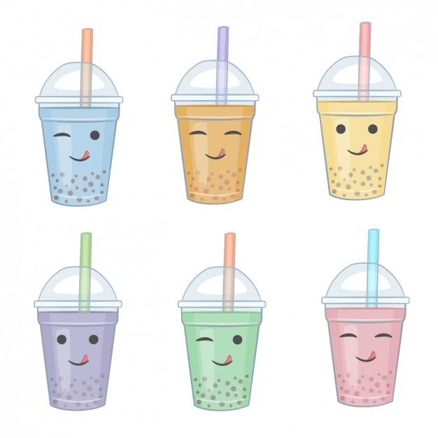 Colección de smoothies con caras vector gratuito