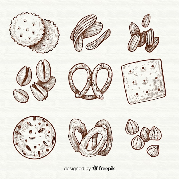 Colección de snacks deliciosos dibujados a mano vector gratuito