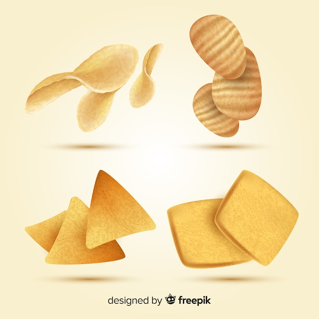 Colección de snacks deliciosos con diseño realista vector gratuito