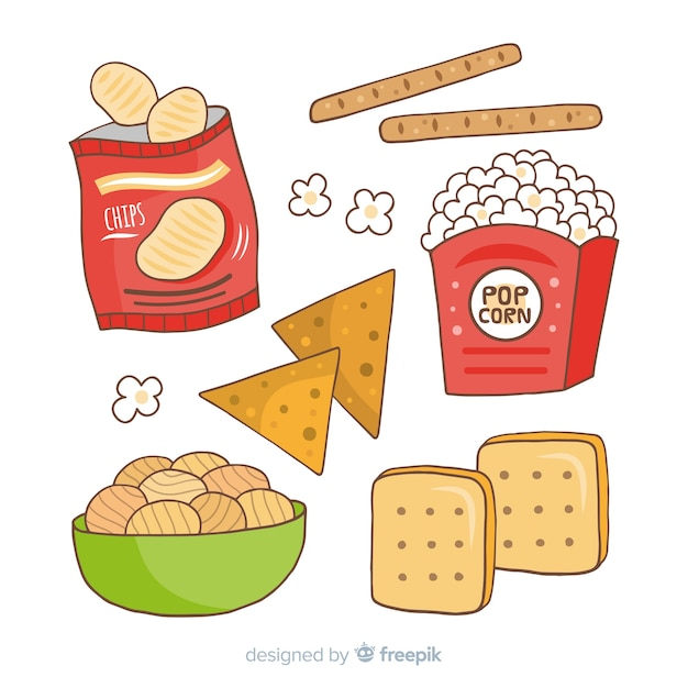 Colección snacks vector gratuito