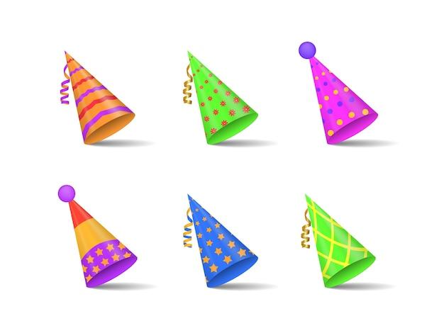 . colección de sombreros festivos para fiestas y celebraciones navideñas Vector Premium