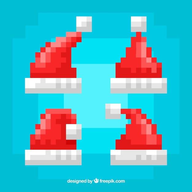 Colección de sombreros de navidad con estilo pixelado vector gratuito