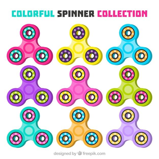 Colección de spinners coloridos vector gratuito