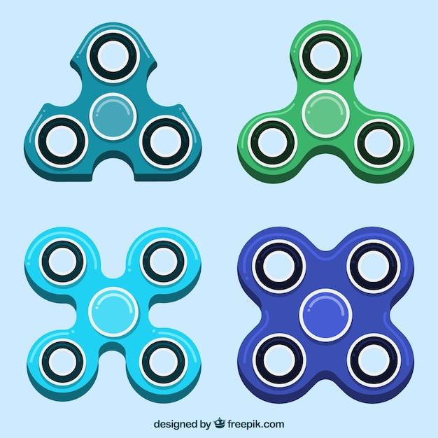 Colección de spinners de diferentes formas vector gratuito