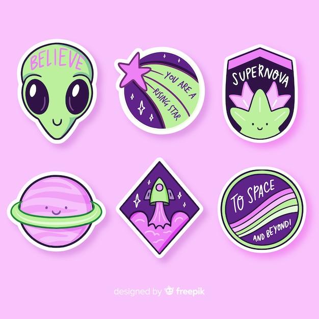 Colección de stiker de espacio de diseño plano vector gratuito