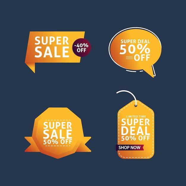 Colección super banner de ventas Vector Premium