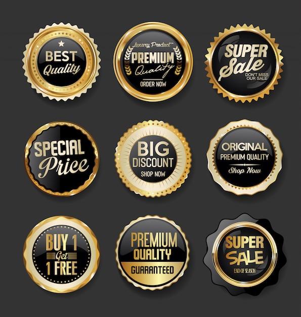 Colección de super venta de ilustración de insignias negras y doradas Vector Premium
