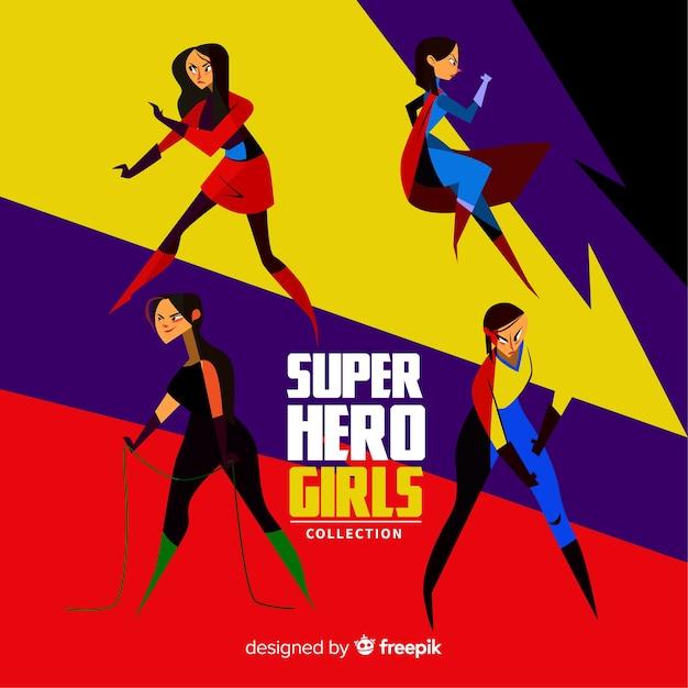 Colección de superheroes femeninos flat vector gratuito