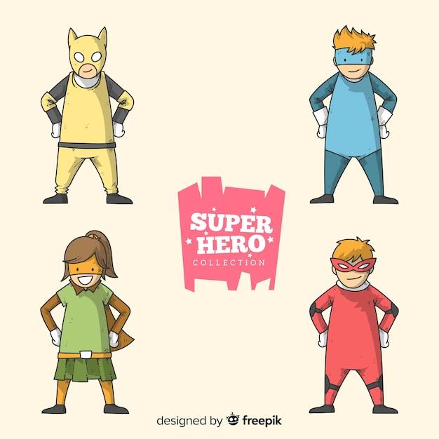 Colección de superheroes niños vector gratuito