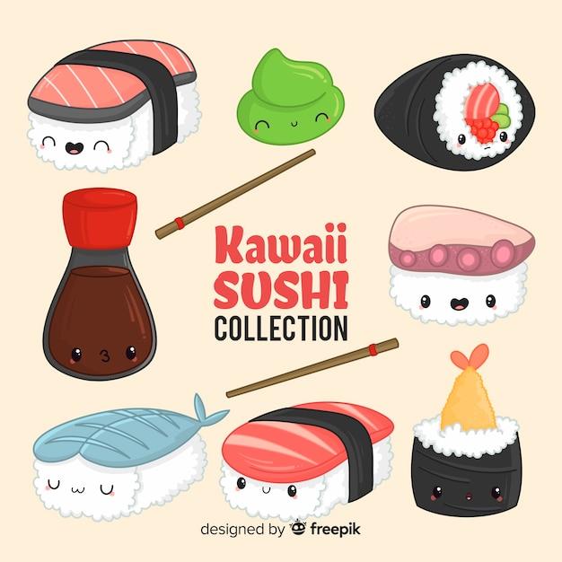 Colección sushi adorable dibujado a mano Vector Premium