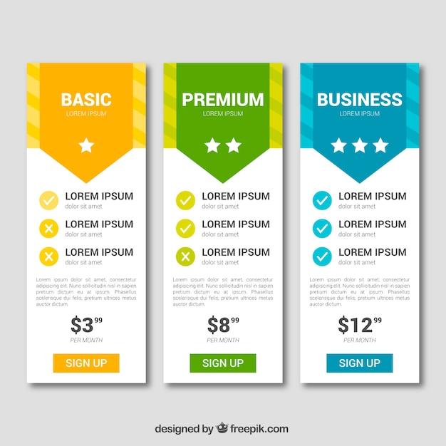 Colección de tablas de precios con diferentes tarifas vector gratuito