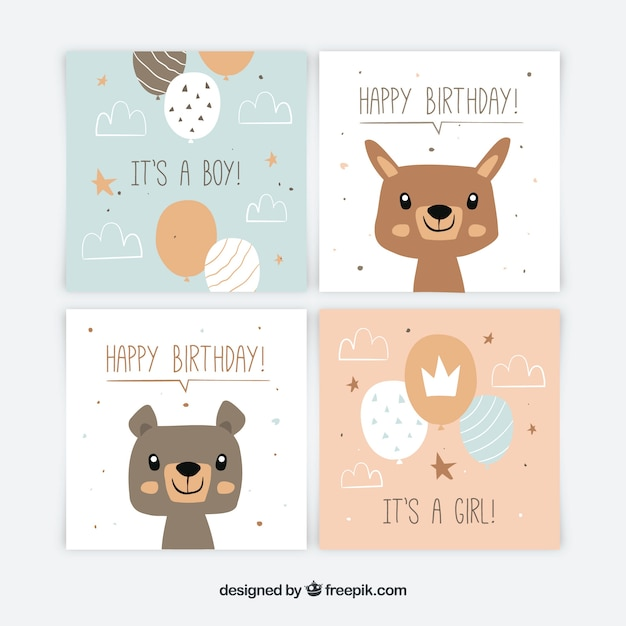 Colección de tarjetas de bebé en estilo plano vector gratuito