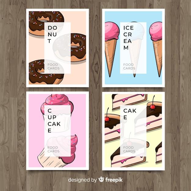Colección de tarjetas de comida dibujadas a mano vector gratuito