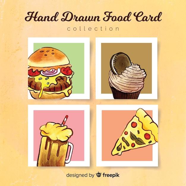 Colección de tarjetas de comida dibujado a mano vector gratuito