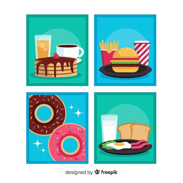Colección de tarjetas de comida en diseño plano vector gratuito
