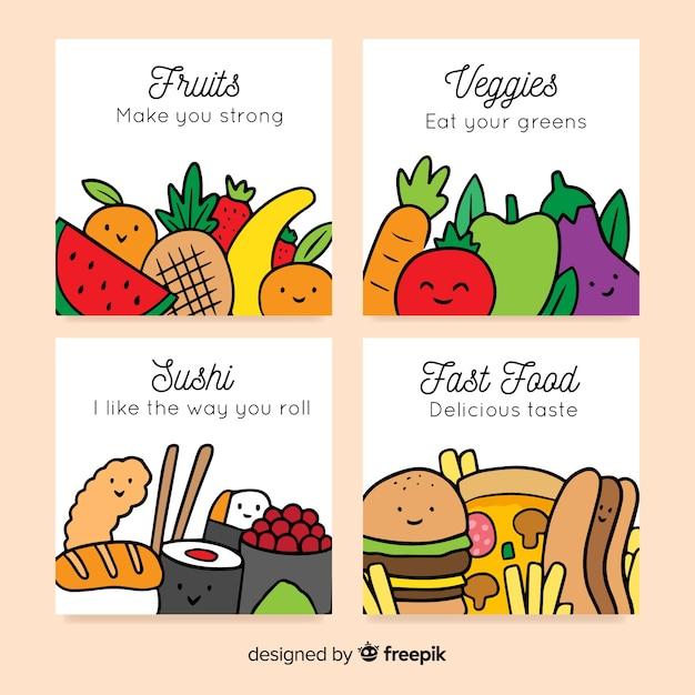 Colección de tarjetas de comida vector gratuito