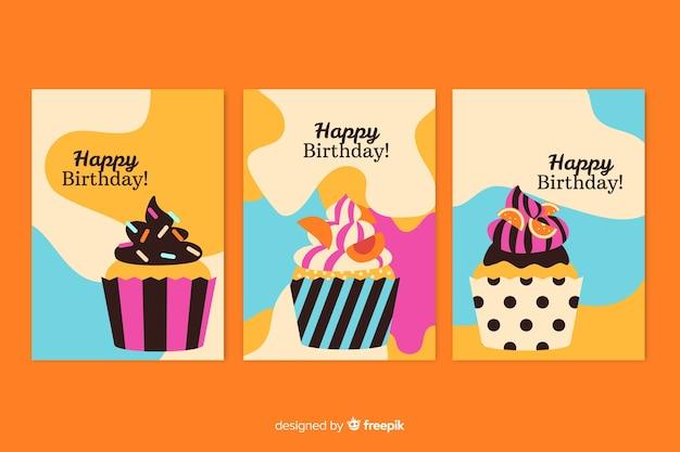 Colección de tarjetas de cumpleaños dibujada a mano vector gratuito