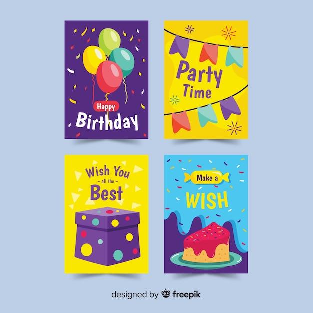 Colección de tarjetas de cumpleaños dibujados a mano vector gratuito