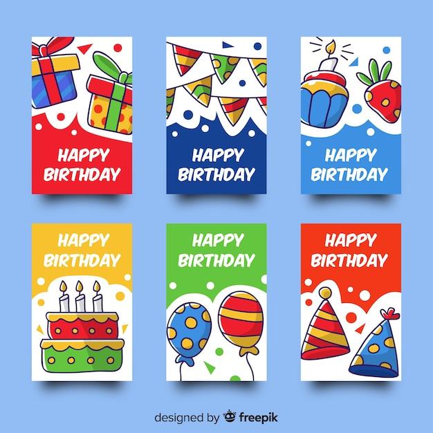 Colección de tarjetas de cumpleaños en diseño plano vector gratuito