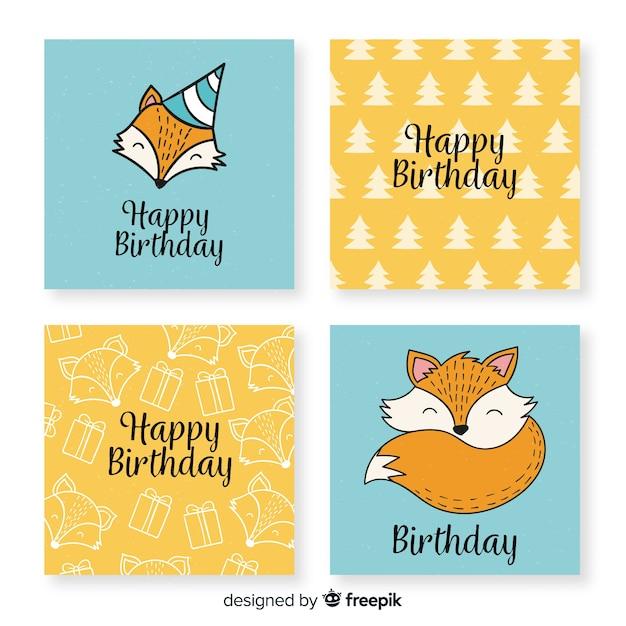 Colección de tarjetas de cumpleaños divertidas dibujadas a mano vector gratuito