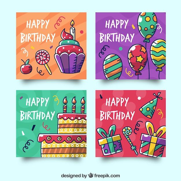 Colección de tarjetas de cumpleaños con elementos de fiesta vector gratuito