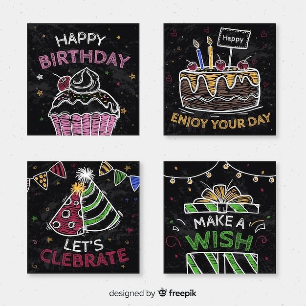 Colección de tarjetas de cumpleaños vector gratuito
