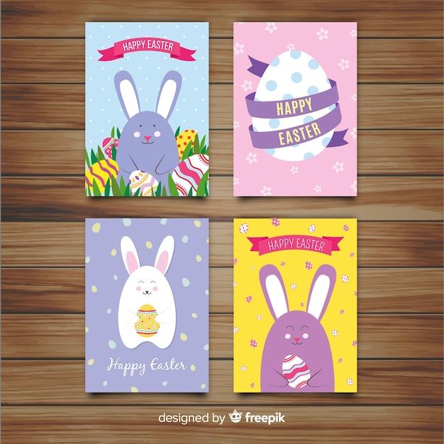 Colección de tarjetas del día de pascua en diseño plano vector gratuito