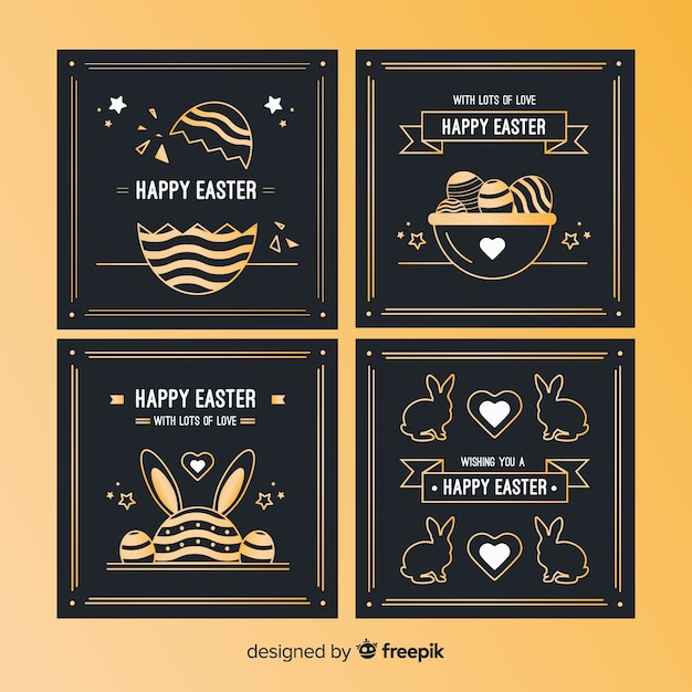 Colección de tarjetas del día de pascua doradas y negras vector gratuito