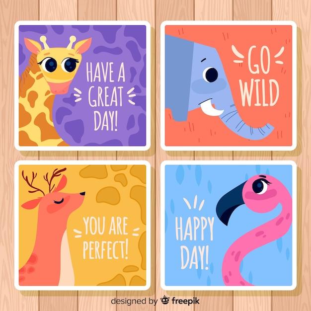Colección de tarjetas de felicitación con animales salvajes. ten un feliz día vector gratuito