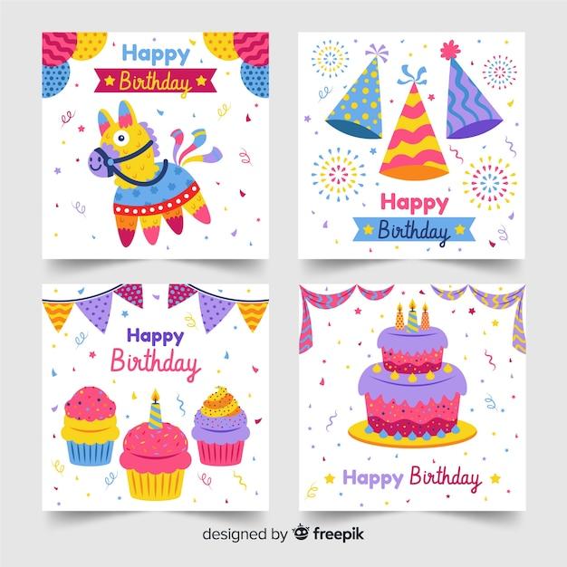 Colección de tarjetas de feliz cumpleaños vector gratuito