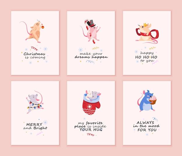 Colección de tarjetas de feliz navidad con ratones. Vector Premium