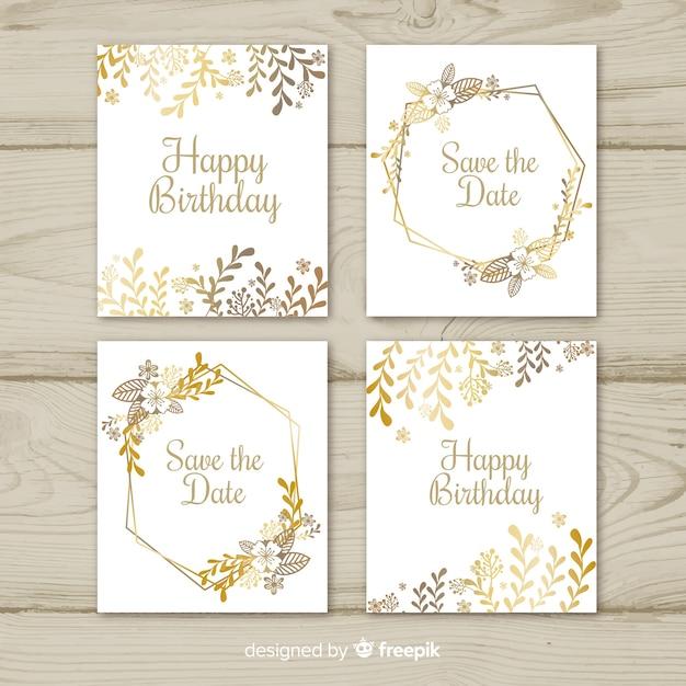 Colección de tarjetas de flores doradas vector gratuito