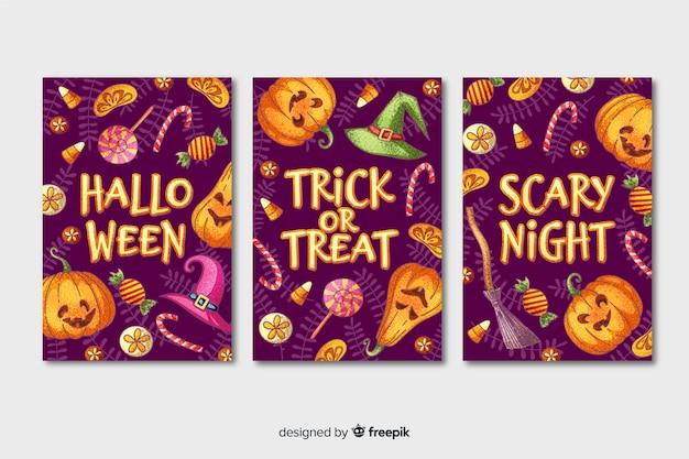 Colección de tarjetas de halloween dibujadas a mano vector gratuito