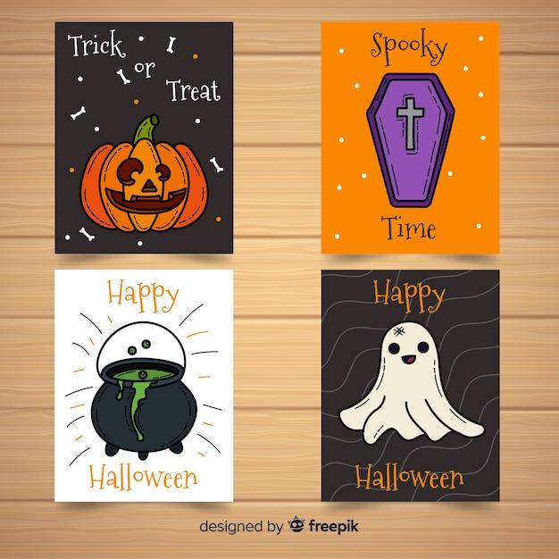 Colección de tarjetas de halloween dibujados a mano vector gratuito