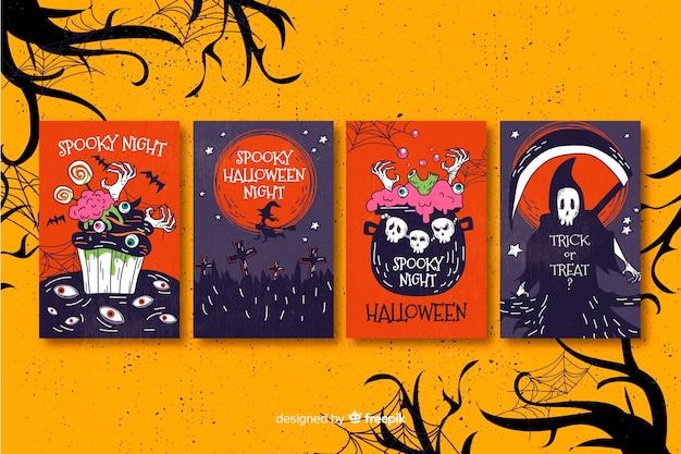 Colección de tarjetas de halloween en diseño plano vector gratuito