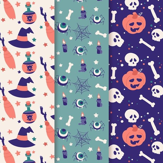 Colección de tarjetas de halloween de estilo dibujado a mano Vector Premium