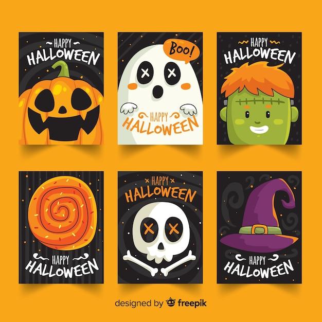 Colección de tarjetas de halloween lindo dibujado a mano Vector Premium