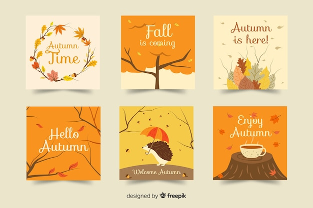 Colección de tarjetas de otoño dibujadas a mano vector gratuito